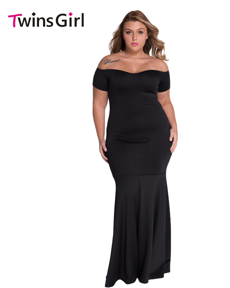 New 2016 Summer Women Party Dresses Sexy Black Plus Size Off Shoulder Fishtail Maxi Dress LC60884