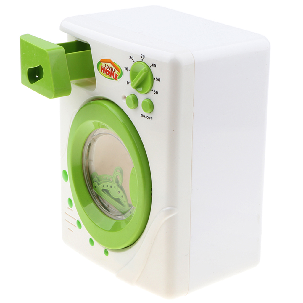 Simulation Washing Machine Battery Powered Home Appliance Kitchen Furniture Playing Game Novelty Toy For Children Role Play