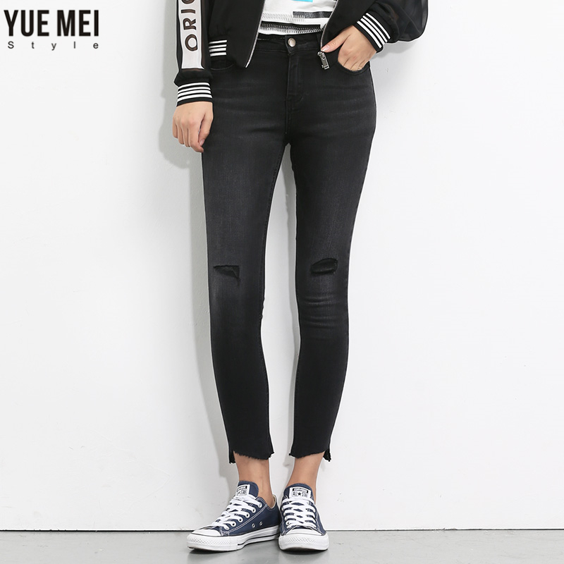 YueMei style 2017   Woman Ripped Hole Skinny Jeans  Plus Size  Mid Waist Cotton Denim Pencil trousers for women hot sale vintage hole ripped jeans woman plus size mid waist skinny jeans women pencil denim pants jeans femme mujer ck005