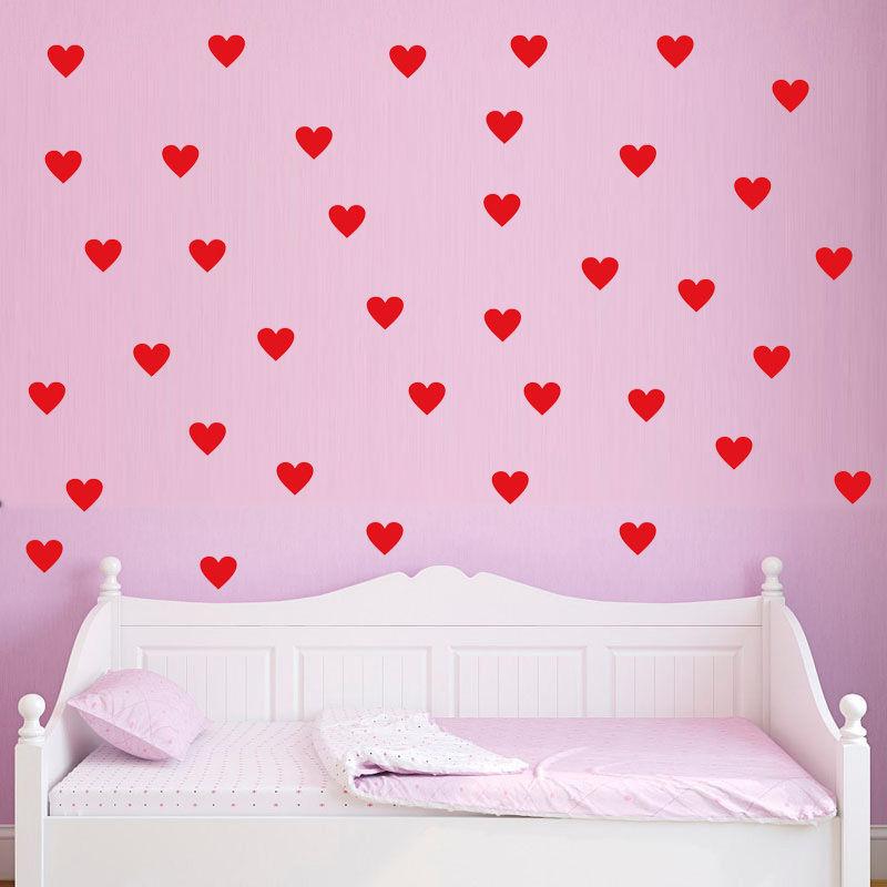 US $7.48 25% di SCONTO|40 PZ Amore Cuori Adesivi Murali Modello Per Le  Ragazze Camera Da Letto Casa Decor Adesivo di Arte Murale Stencil Per  Pareti ...