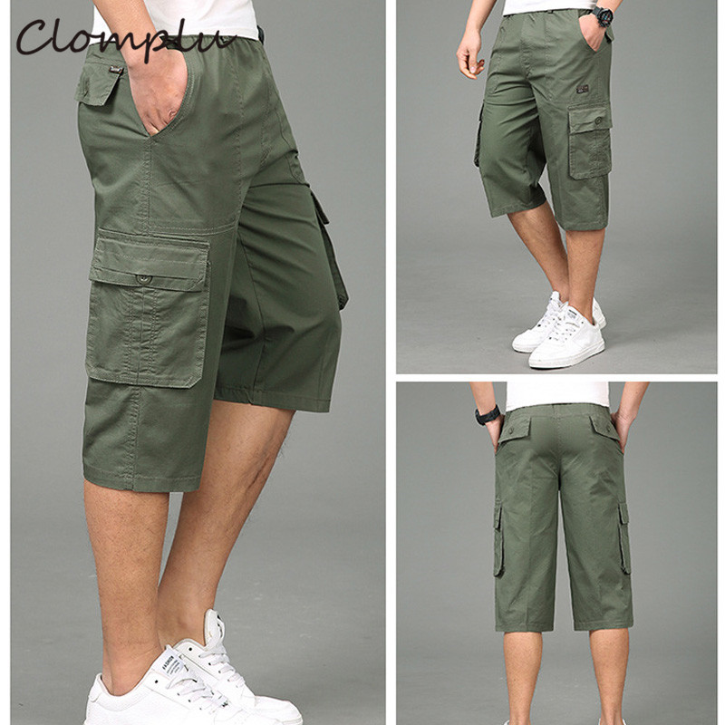 Clomplu Cargo Shorts Mens 3/4 Trousers Plus Size Summer Male Short Pants 2019 New Clothes For Men Quality Elastic Waist