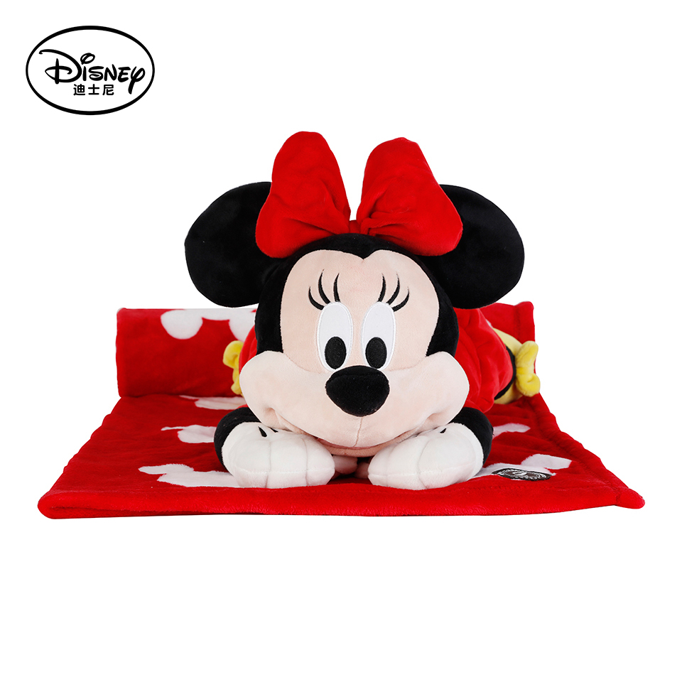 Disney Minnie Mouse Plush Stuffed Toy Peluches Doll Multifunctional Pillow Back Cushion Portable Kid Rest Warm Blanket Toys