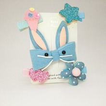 5PCS Girl hair accessories set gray crown rabbit hair clip glistening big butterfly star hairpin children barrette headwear T35