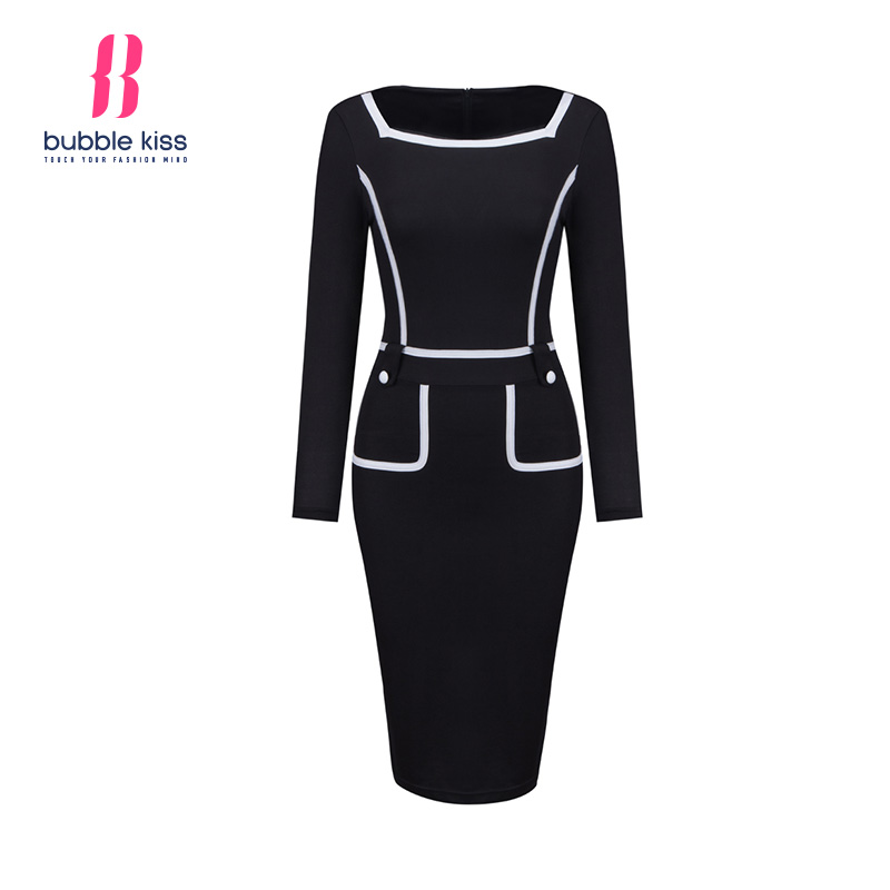 Pencil Women Dress Formal Slim Work White Trim Black Bodycon Dress