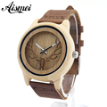 Aismei Mens Deer Head Design Buck Bamboo Wooden Watches Luxury Wooden Bamboo Watches With Leather Quartz Watch with box