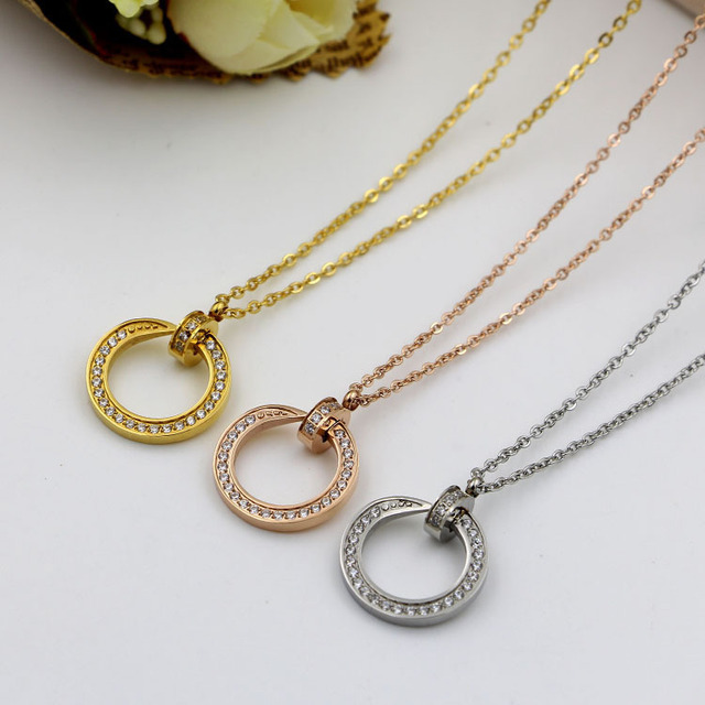 Wholesale high quality nail necklace with CZ Rose Gold silver
