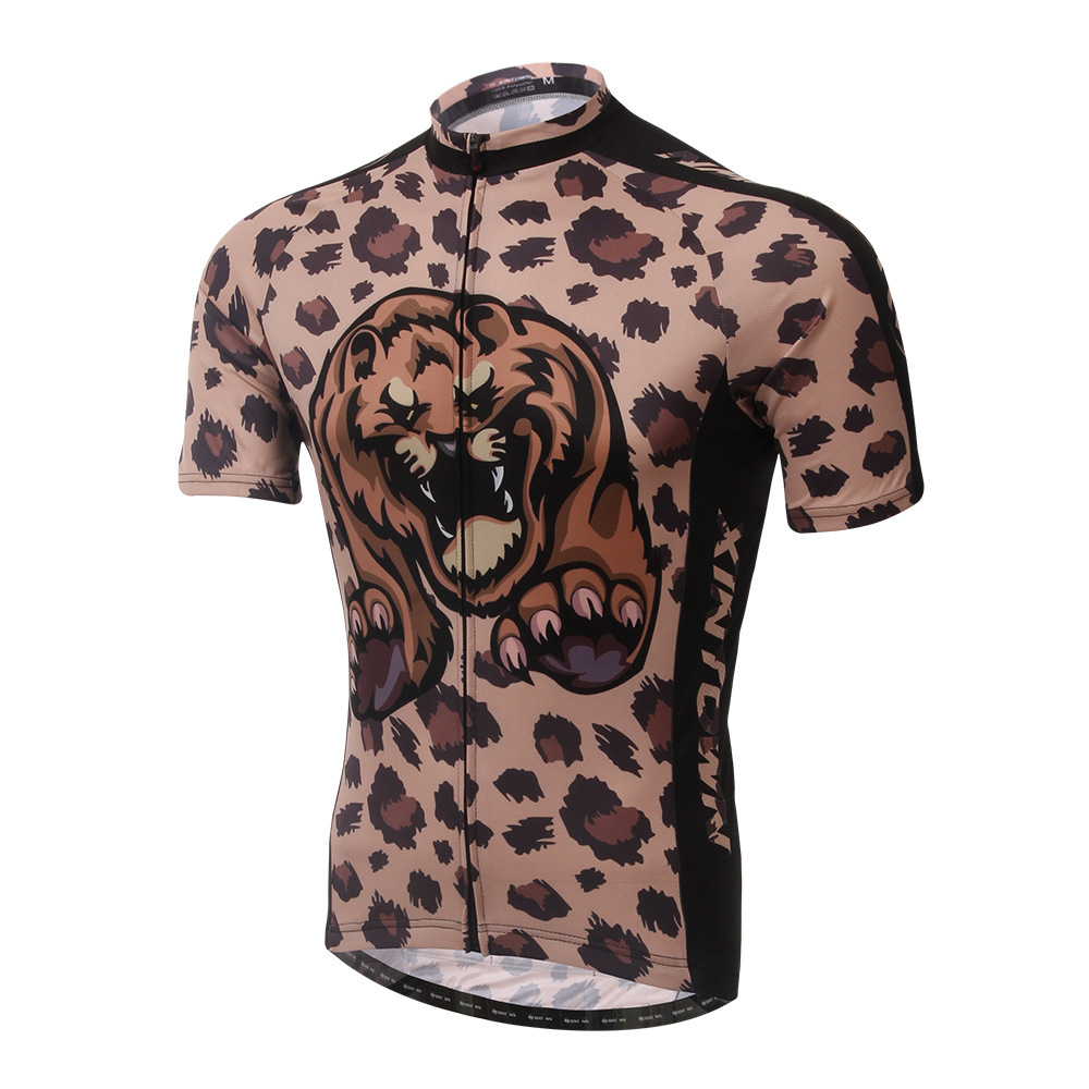 XINTOWN brown leopard riding shirt summer bike short sleeved riding suit speed dry clothes sport thermal underwear