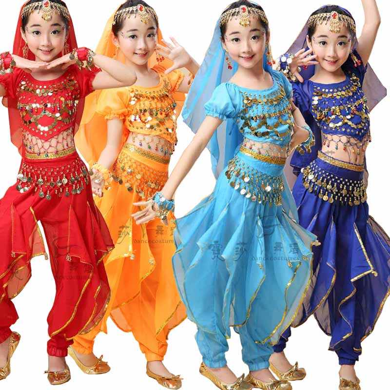 Children Belly Dance Costumes Kids Indian Dancing Dress Girls Bollywood  Dance wear Outfits Performance Party Stage Wear Suits