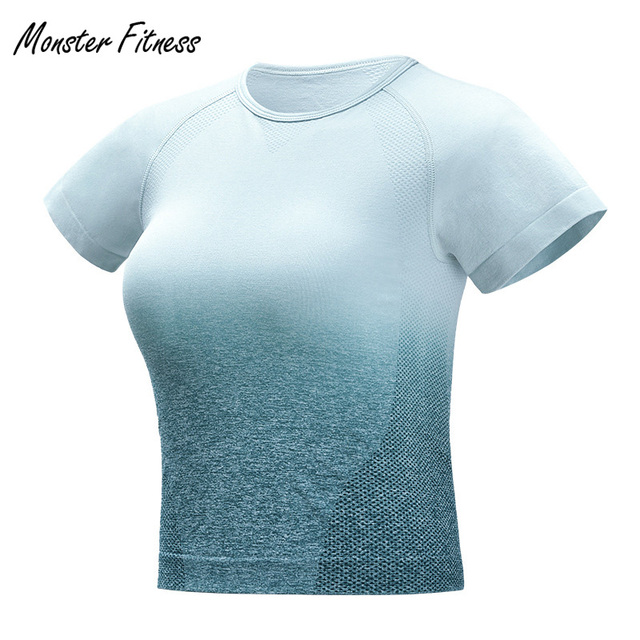 Monster Seamless T Shirts Tops For Women Yoga Gym Compression Women's Sport T Shirt Running Short Sleeve Shirt Sweatshirt by Monster Fitness