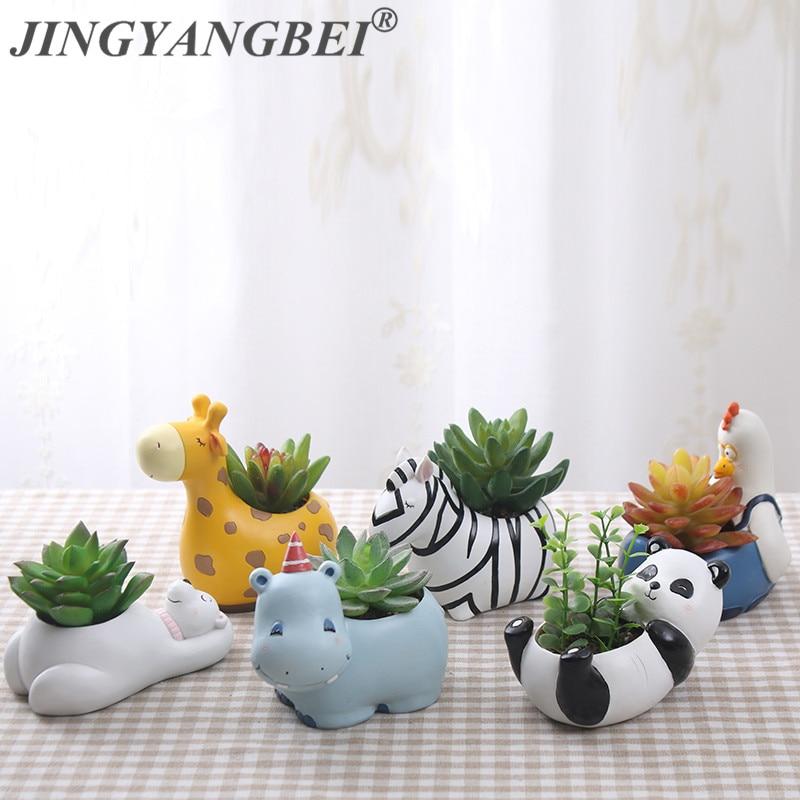 6Design Modern Cartoon Succulent Planter Pot Resin Creative Handicraft Animals Kawaii Shape Desktop Decoration Flower Pots