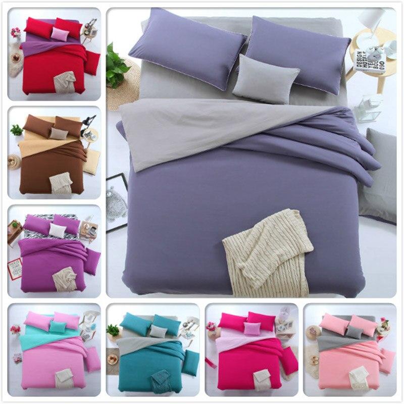 4pcs Set Bed Sheet Duvet Cover Pillow Case Plain Colour Boy Girl Student Bedding King Queen Double Single Size Solid Bedclothes