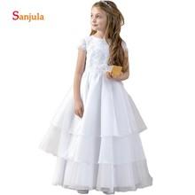 White Chiffon Dress for Little Girls A-Line Lace Appliques Christmas Party Dresses Long Tiered Skirt primera comunion D162