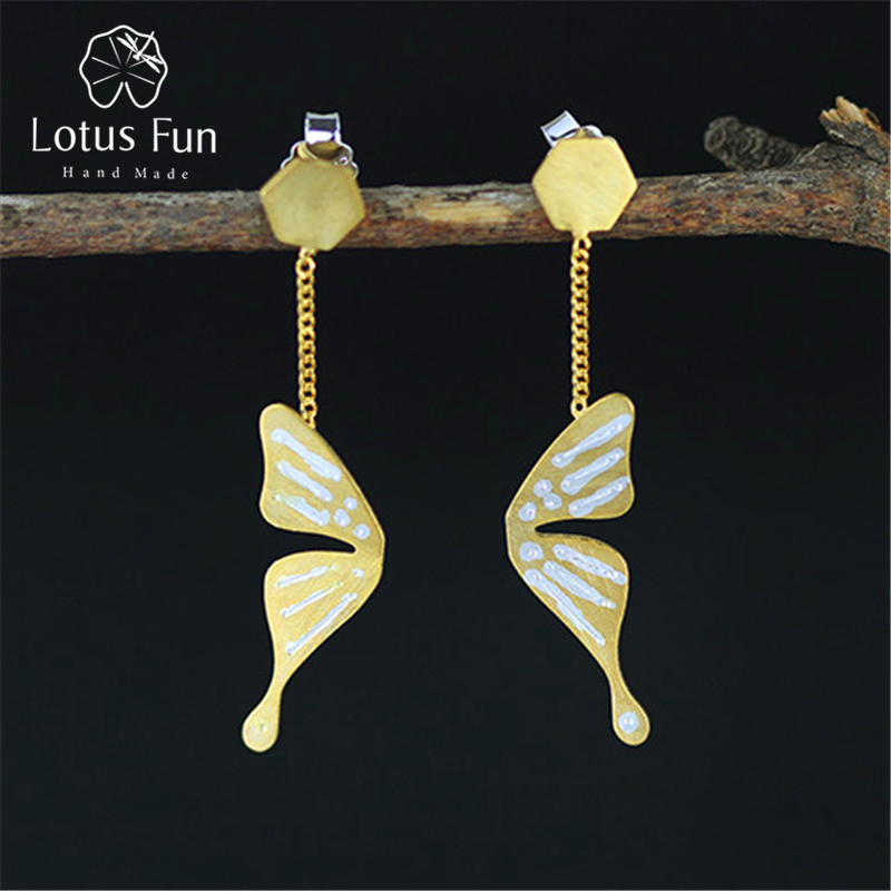 Lotus Fun Real 925 Sterling Silver Natural Creative Handmade Fine Jewelry Fly Butterfly Fashion Drop Earrings for Women Brincos