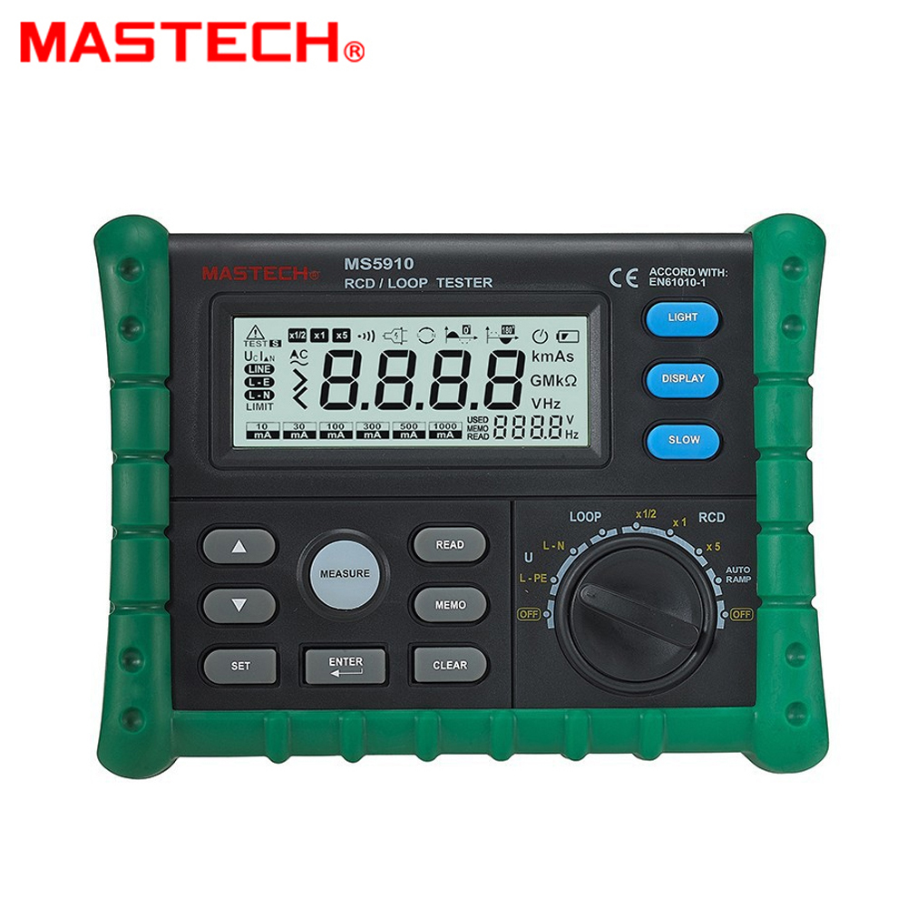 MASTECH MS5910 RCD/Loop Resistance Tester Circuit Trip-out Current/Time Detector with USB Interface image