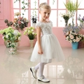Crianças meninas vestidos 2016 nova moda princesa tutu vestido na altura do joelho vestido de baile flores girl dress for aniversário de casamento traje