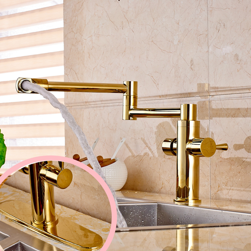 Luxury Golden Brass Bathroom Kitchen Faucet Long Spout Swivel Spout Mixer Tap golden brass kitchen faucet dual handles vessel sink mixer tap swivel spout w pure water tap