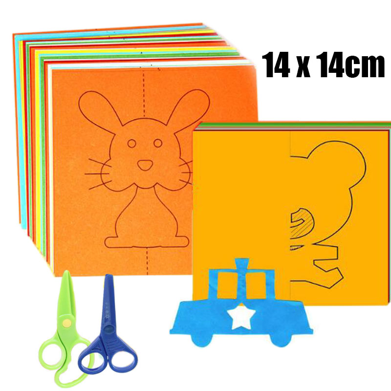 48pcs/set Kids Cartoon Color Paper Folding And Cutting Toys/children Kingergarden Art Craft DIY Educational Toys Drawing Toy
