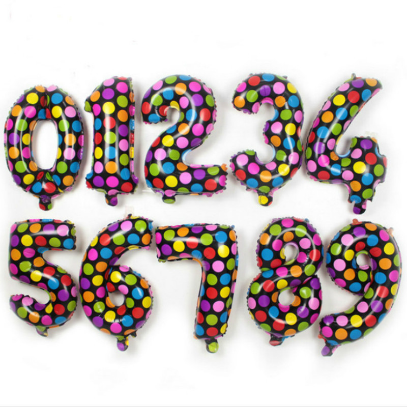 1pc 16 inch colorful polka dot 0 to 9 digit figure number balloon helium foil ballons
