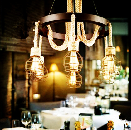 American Country Retro Edison Pendant Lamp With 6 Lights Fixtures Loft Style Industrial Lighting Lamparas Hanging Light 2pcs american loft style retro lampe vintage lamp industrial pendant lighting fixtures dinning room bombilla edison lamparas