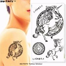 Nu-TATY Unicorn Pegasus Horse Temporary Tattoo Body Art Arm Flash Tattoo Stickers 17x10cm Waterproof Fake Henna Painless Tattoo