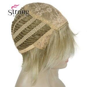 Image 5 - Strongbeauty 짧은 계층화 된 금발 두꺼운 솜털 전체 합성 가발 열 ok