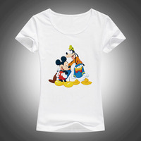 New Mickey Women T Shirts Short Sleeve Lady Print Donald Duck T Shirts Female Cartoon Tops