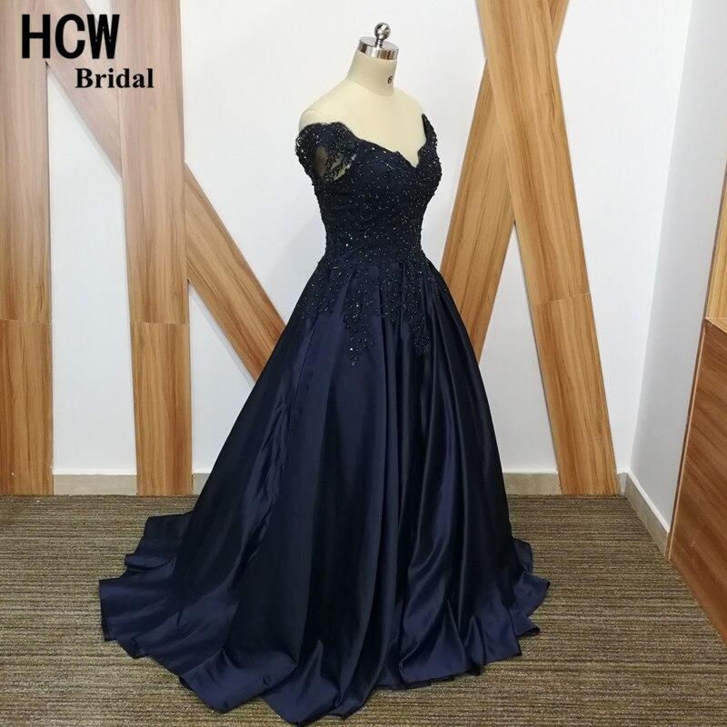 Navy sinine õhtukleit beaditud pitsiga satiin joonega pikk ametlik - Eriürituste kleidid - Foto 2