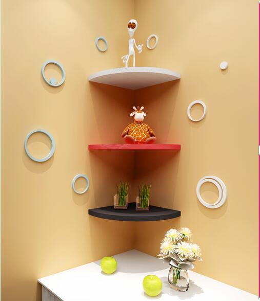 3PCS/Set Triangle fan Bedroom Wood Bathroom Shelves Creative Home ...