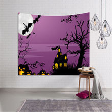 Horror Night Wall Tapestry Pumpkin Bat Castle Hippie Psychedelic Hanging Fabric Home Decor Table Cloth Tapiz