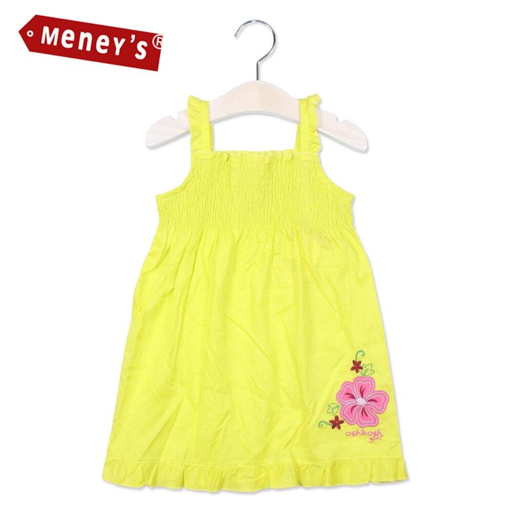 Meney's 2017 Summer Girls Dresses Brand Shoulderless Baby Flowers Clothes Beach Kids Sundress Vestidos Sleeveless Sling Dress