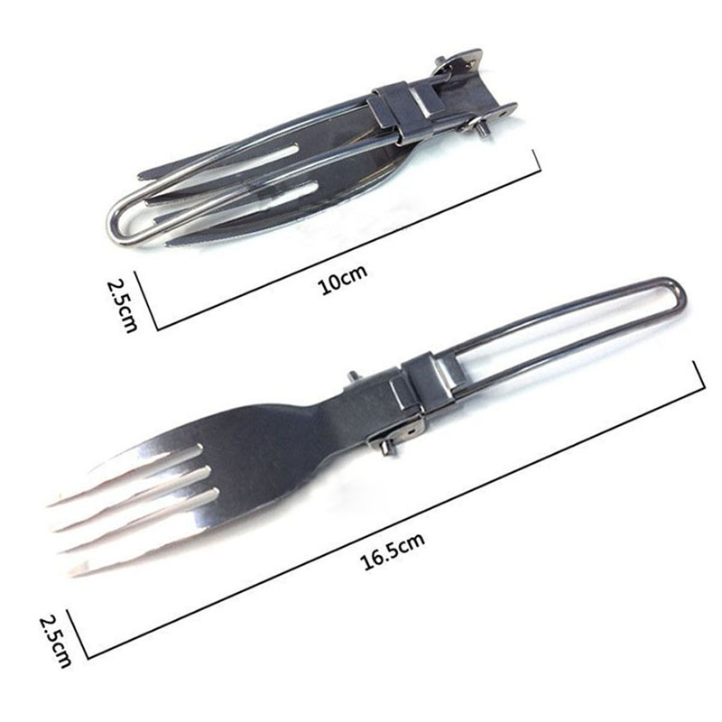 Outdoor Picnic 2set Of Camping Picnic Tableware Stainless Steel Folding Fork And Spoon Tab Outdoor Tablewares