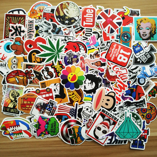 100 pcs/Pack Funny Cartoon Sticker Decal For Car Laptop Bicycle Motorcycle Waterproof Stickers 100 mixed sticker car styling skateboard laptop luggage snowboard car fridge phone diy vinyl decal motorcycle stickers covers