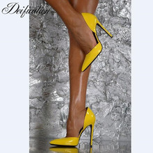 цена на Deification Chic Bright Yellow Shoes Sexy High Heels zapatos sexys de mujer Pointed Toe Ladies Pumps High Slingbacks Shoes Woman