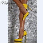 Deification Chic Bright Yellow Shoes Sexy High Heels zapatos sexys de mujer Pointed Toe Ladies Pumps High Slingbacks Shoes Woman