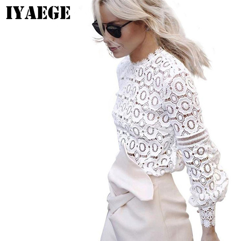 Enthusiastic Iyaege 2018 Floral Lace Blouse Women Shirts Sexy Hollow Out Crochet Long Sleeve Office Women Blouse Ladies Tops Blusas Mujer An Enriches And Nutrient For The Liver And Kidney Women's Clothing