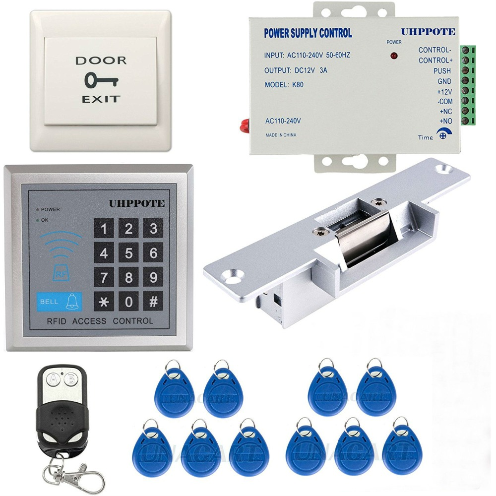 YobangSecurity 125KHz EM-ID Card Single Door Access Control Keypad System Kit With Electric Strike Lock Remote Control metal rfid em card reader ip68 waterproof metal standalone door lock access control system with keypad 2000 card users capacity
