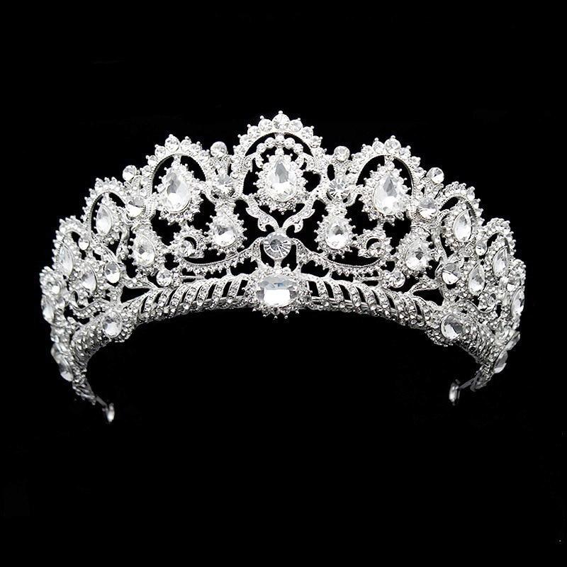 Велика Vintage Vintage Rhinestone Пром Королева Корона Кристальна наречена Quinceanera Tiaras Весільна Діадема для конкурсу весільних аксесуарів для волосся