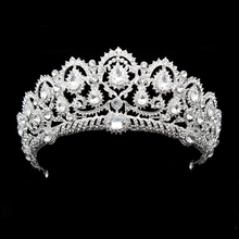 Big Vintage Rhinestone Prom Queen Crown Crystal Bride Quinceanera Tiaras Bridal Diadem For Pageant Wedding Hair Accessories