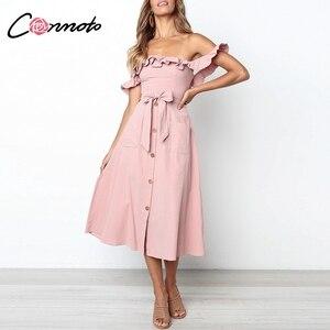 Image 2 - Conmoto Vintage à volants Sexy épaule dénudée longue robe femmes 2019 été fille fête Maxi robe Empire ceintures robe mi longue Vestidos