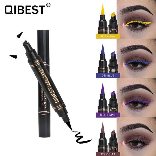 12Color Eyeliner Pencil Pigment Long Lasting Eye Liner Waterproof Eyes Makeup Seal Stamp Eyeliner Cosmetics Pen Black Brown Blue 4