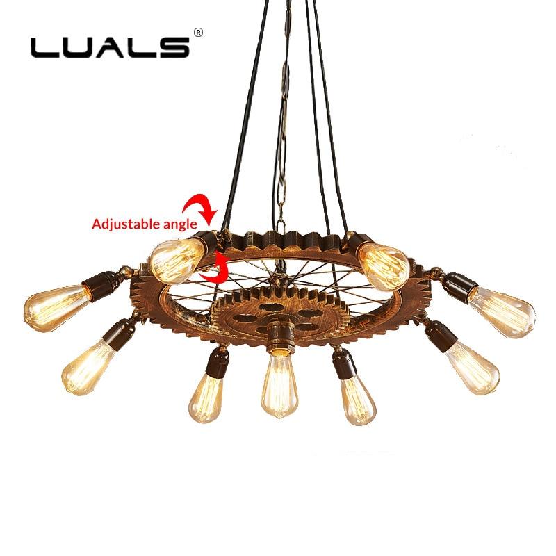 Loft rétro Suspension lampe Style industriel Suspension Luminaire créatif engrenage Suspension Bar Edison ampoule Luminaire éclairage
