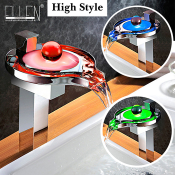 Tall Led Faucet Light Water Tap 3 Colors Temperature Controlled Bathroom Waterfall Sink Square Faucet torneira EL2003T