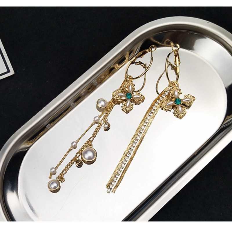 Vintage Ohrringe Charme Asymmetrie Kreuz Simulierte Perle Schmuck Lange Kette Quaste Ohrringe 2018 Frauen Mode Zubehör