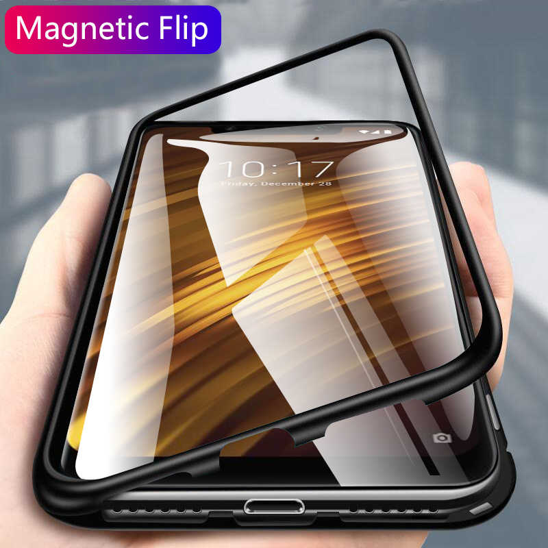 magnetic flip case for xiaomi pocophone f1 case cover clear glass back cover pocofone f1 pocof1 poco f 1 little metal edge coque