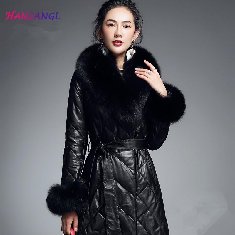 HANZANGL Women's   Leather   Fur Coat 2018 Winter Fashion Large Fox Fur Collar   Leather   Jacket Belted Slim Warm Down Coat Parka