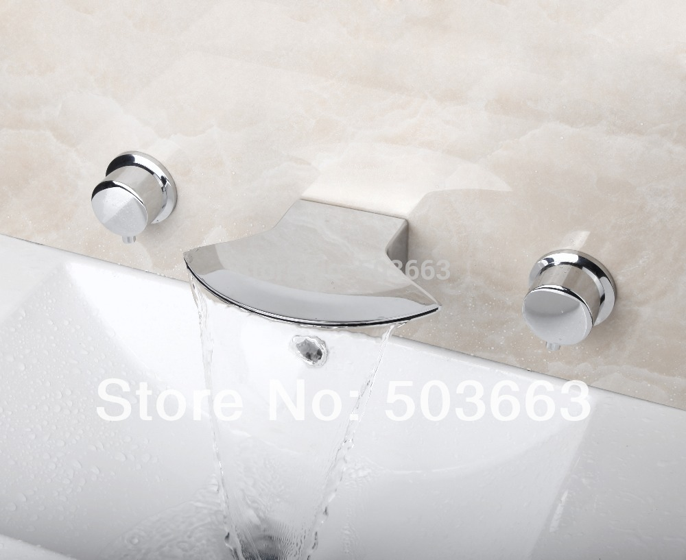 Best Waterfall Wall Mounted Bathroom Basin Sink Bathtub Polished Chrome Double Handles Mixer Tap Faucet  MF-826 grey red beige blue embroidery logo car seat cover front