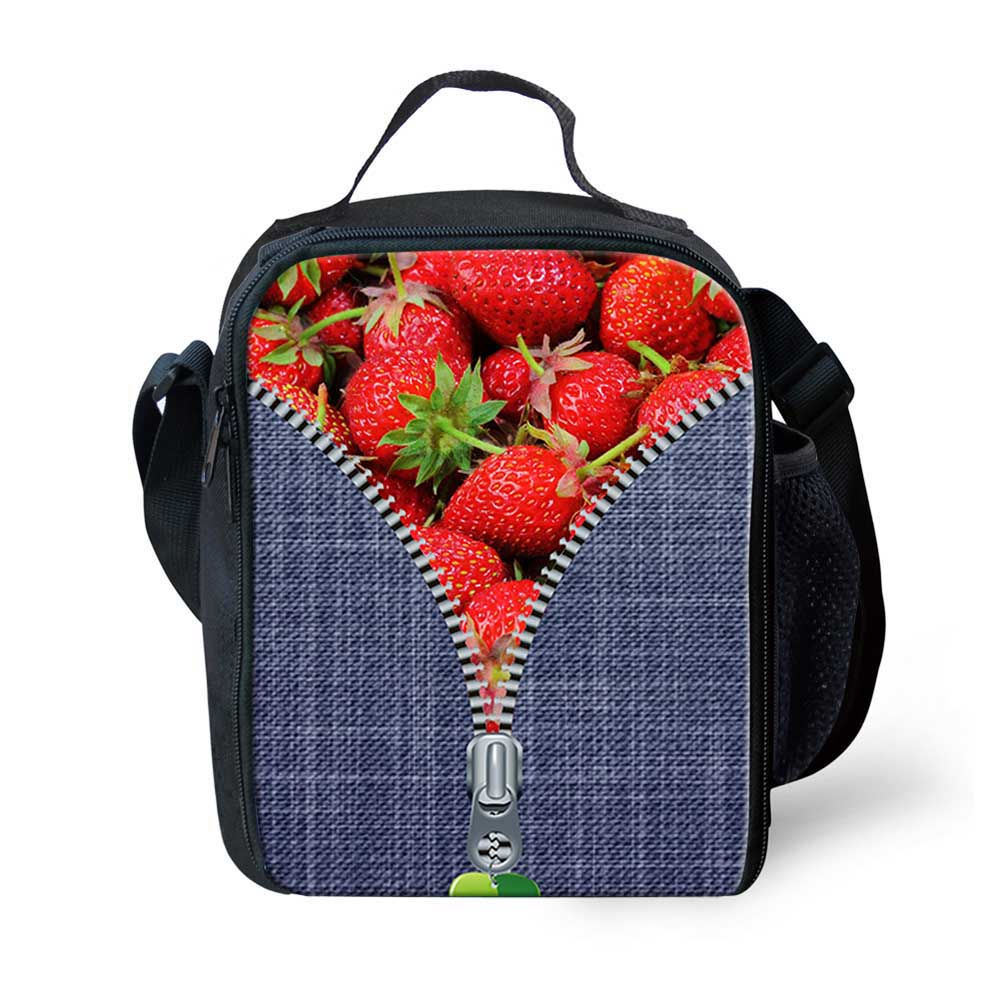 Cute 3D Fruits Strawberry Printing Lunch Bag for Women Insulated Kids Lunch Box Food Container Girls Picnic Bag Bolsa Termica