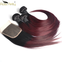 Ross Pretty Hair Remy Human Bundles With Closure Brazilian Straight Lace Ombre Color 1b 99j