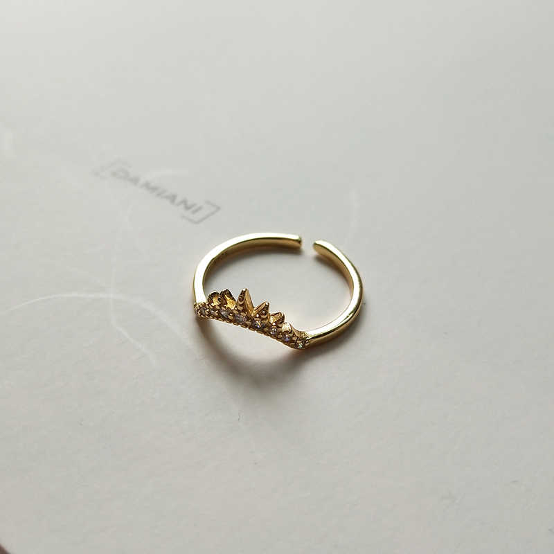 Peri'sBox ของแท้ 925 เงินสเตอร์ลิง CZ ซ้อนแหวนสำหรับ Wome เรขาคณิตที่มองไม่เห็นแหวนเปิดค็อกเทลแหวนปรับ