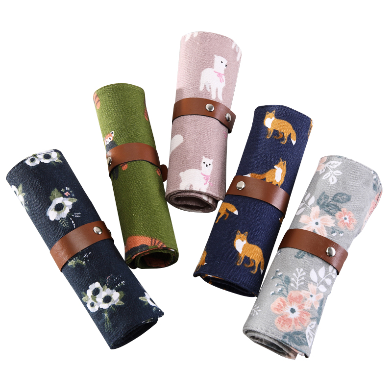 Kawaii Fox Raccoon Alpaca Animal Flowers Canvas Roll Pencil Bag Stationery Storage Organizer Bag School Office Supply Escolar